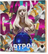 Lady Gaga Graphic Art Wood Print