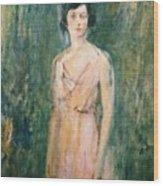 Lady In A Pink Dress Wood Print by Ambrose McEvoy