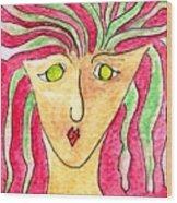 Lady In A Purple Shirt Wood Print