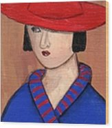Lady In A Red Hat And Blue Coat Wood Print