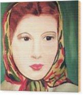 Lady In A Scarf Wood Print