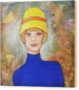 Lady In A Yellow Hat Wood Print