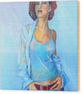 Lady In Blue II Wood Print