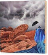 Lady In Blue Nevada Wood Print
