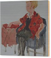 Lady In Chair Wood Print