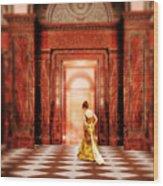 Lady In Golden Gown Walking Through Doorway Wood Print
