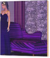 Lady In Lilac Room Wood Print
