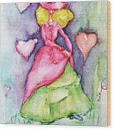 Lady In Love Wood Print