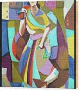 Lady In Mosaic Wood Print