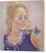 Lady In Purple Wood Print