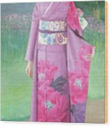 Lady In Purple Kimono Wood Print