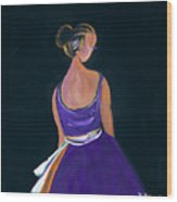 Lady In Purple Wood Print