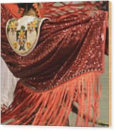 Pow Wow Lady In Red Wood Print