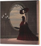 Lady In Red Dress Wood Print