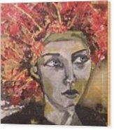 Lady In Red Headdress Wood Print