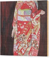 Lady In Red Kimono Wood Print