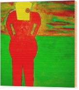 Lady In Red Looking At Sunset Wood Print