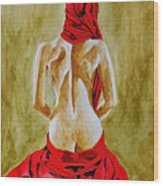 Lady In Red Three Wood Print