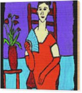 Lady In Red With Fan Wood Print
