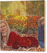 Lady In The Leaves Wood Print