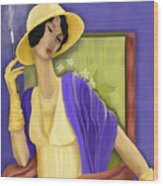 Lady In The Yellow Hat Wood Print by Sydne Archambault