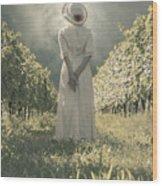 Lady In Vineyard Wood Print