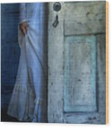 Lady In Vintage Clothing Hiding Behind Old Door Wood Print by Jill Battaglia