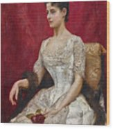 Lady In White Wood Print