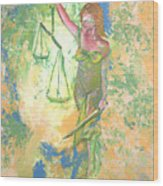 Lady Justice And The Man Wood Print