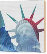 Lady Liberty With French Flag Wood Print
