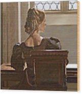 Lady Near The Window Wood Print