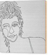 Lady On A Line Wood Print