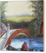 Lady On The Bridge Wood Print