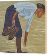 Lady On The Seashore Wood Print