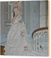 Lady On The Staircase Wood Print