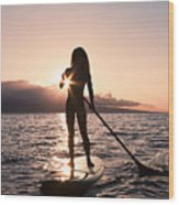 Lady Paddling Wood Print by Dave Fleetham - Printscapes