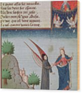 Lady Philosophy Leads Boethius In Flight Into The Sky On The Wings That She Has Given Him Wood Print