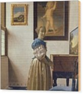 Lady Standing At The Virginal Wood Print