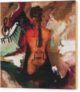 Lady Violin 01 Wood Print