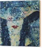 Lady Wears A Hat In Blue Wood Print