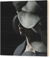Lady With A Big Hat Wood Print