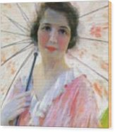 Lady With A Parasol 1921 Wood Print