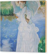 Lady With A Parasole  Wood Print