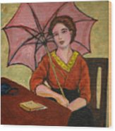Lady With An Umbrella Wood Print