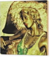 Lady With Hat Wood Print