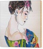 Lady With Kimono Wood Print