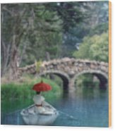 Lady With Parasol In Boat Wood Print