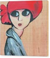 Lady With Red Hat Wood Print