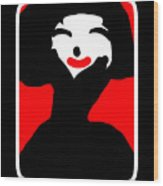 Lady With The Red Lips Wood Print