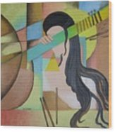 Lady  With Veena  Wood Print